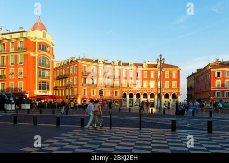 France, Alpes-Maritimes, Nice, old town, place Massena square - Stock Photo