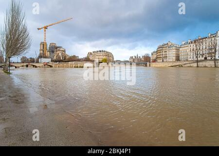 France, Paris, area listed as World Heritage by UNESCO, Notre-Dame de Paris cathedral , during the flooding of March 2020 - Stock Photo