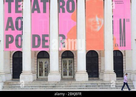 Portugal, Lisbon, Baixa, Rossio or Don Pedro IV square (Praça de D. Pedro IV), National Theater Dona Maria II (Teatro Nacional D. Maria II) inaugurated in 1846 - Stock Photo