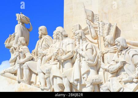 Portugal, Lisbon, Belem, Padrão dos Descobrimentos (Monument to the Discoveries), monument built (in 1960 by architect José Angelo Cottinelli Telmo) in memory of Portuguese navigators of the 15th and 16th centuries and Prince Henry the Navigator - Stock Photo