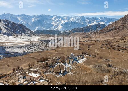 India, Jammu and Kashmir, Ladakh, Likir Gompa, elevated view on the valley and snow-capped mountains in the background, altitude 3700 meters - Stock Photo