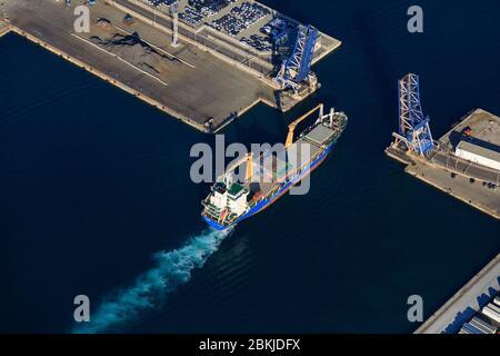France, Bouches du Rhone, Marseille, Euromediterranean area, Grand Port Maritime de Marseille, 2nd arrondissement, Arenc district, Bassin d'Arenc, Pont Tournant (aerial view)