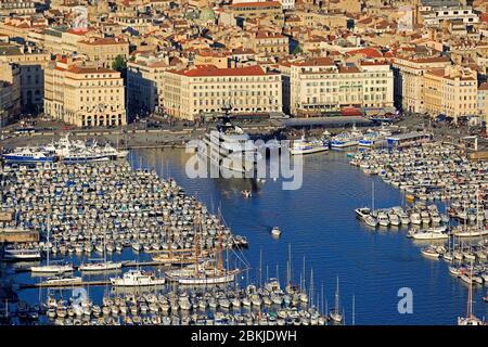 France, Bouches du Rhone, Marseille, 1st arrondissement, the Vieux Port (aerial view)