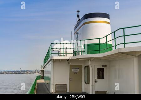 EN ROUTE SEATTLE TO BREMERTON - JUNE 2018: Deck and funnel of a passenger ferry from Seattle to Bremerton. - Stock Photo