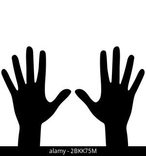 Silhouettes of hands isolated on a white background. Vector flat illustration. - Stock Photo