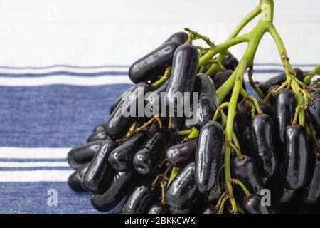 Sweet Saphire Grapes grown in California are a new exciting variety that is crisp and has an unual long shape like a finger. - Stock Photo