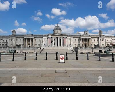 London. UK. May the 4th, 2020 at 11am. Wide view angle of Trafalgar Square and The National Gallery during the Outbreak.