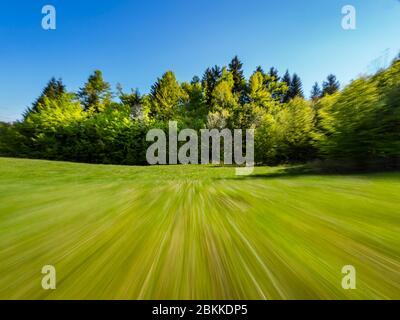 Green forest nature Spring season Lokve in Croatia Europe like fyling low over field aka artistic art photogenic - Stock Photo