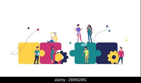 Puzzle team work vector illustration concept partner. Partnership teamwork business people collaboration together vector design. Concept jigsaw part s