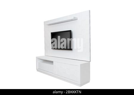 Wooden wardrobe isolated on white background - Stock Photo