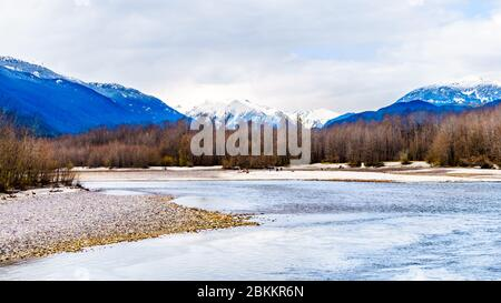 The Squamish River in Brackendale Eagles Provincial Park, a famous Eagle watching spot in British Columbia, Canada