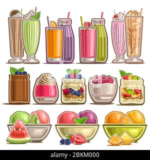 Vector Set of different Desserts, lot collection of 12 cut out illustrations of fresh assorted milk beverages, group of many parfaits and puddings and - Stock Photo