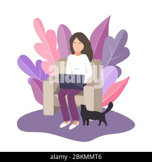 Work at home. Young woman working on laptop while sitting comfortably in the chair. Remote work during Covid-19 outbreak. Vector illustration. - Stock Photo