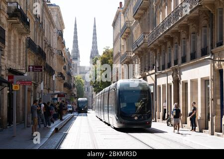 Bordeaux , Aquitaine / France - 12 04 2019 :  tramway on street in Bordeaux city center France