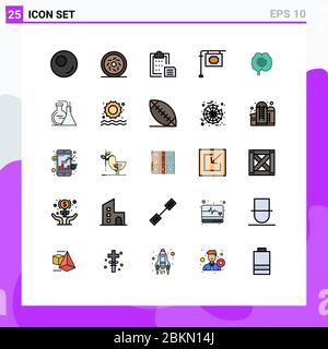 Universal Icon Symbols Group of 25 Modern Filled line Flat Colors of chemicals, hypnosis, paper, head, street Editable Vector Design Elements