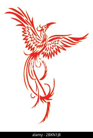 Phoenix with spread wings and raised head - Stock Photo