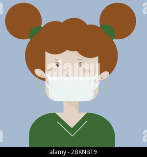 Medical mask for prevent virus. Kid wearing a surgical mask. Little girl. Child character. Cartoon character. Face mask. Stock Photo