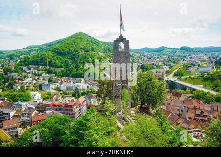 Aerial view of the swiss city of Baden and the surrounding landscape taken from Stein Castle ruins, Canton of Aargau, Switzerland. - Stock Photo