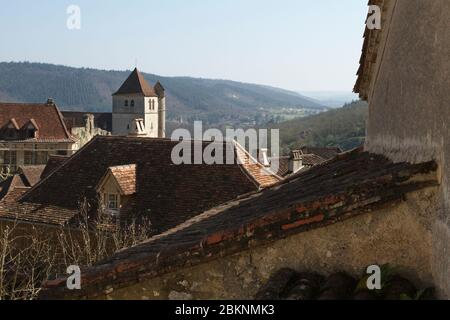 Sain Cirq-Lapopie, Lot / France; Mar. 22, 2016. Saint-Cirq-Lapopie is a French commune in the Lot department in the Midi-Pyrénées region. - Stock Photo