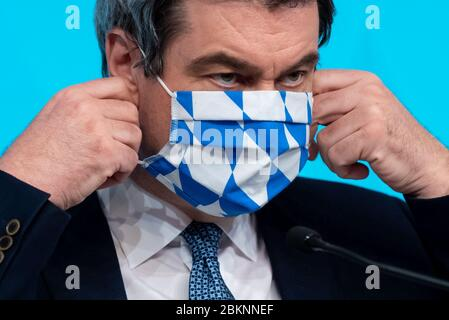 Munich, Germany. 05th May, 2020. Markus Söder (CSU), Minister President of Bavaria, will attend a press conference after a meeting of the Bavarian cabinet. The focus of the meeting was the Corona crisis. Credit: Sven Hoppe/dpa/Alamy Live News - Stock Photo
