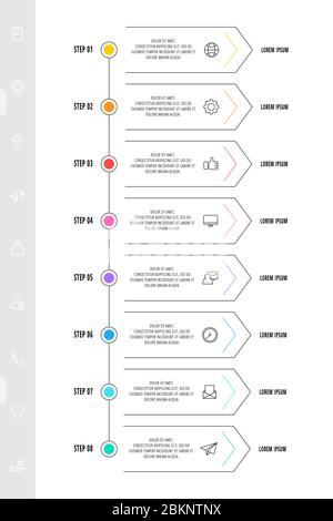 Infographic arrows with eight steps, icons. Line vector template. Can be used for diagram, business, web, banner, workflow layout, presentations, flow - Stock Photo