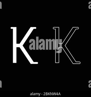 Kappa greek symbol small letter lowercase font icon outline set white color vector illustration flat style simple image - Stock Photo