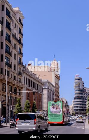 Gran Via In The Center Of Madrid With A Heavy Traffic Jam In Madrid. June 15, 2019. Madrid. Spain. Travel Tourism Holidays - Stock Photo
