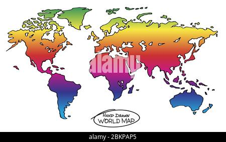 Colorful hand drawn map of the world. Not exactly precision outline drawing of global map colored in bright rainbow colors. Conceptual symbol of freed - Stock Photo