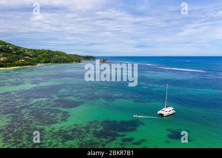 Seychelles, Mahe island, Anse Royale, boats at the anchor (aerial view)