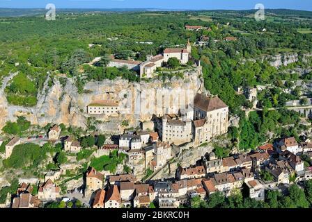 France, Lot, Causses du Quercy regional natural park, Rocamadour on the ways to Santiago de Compostela (aerial view) - Stock Photo