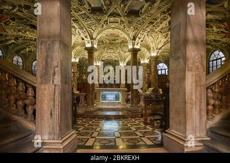 Italy, Lombardy, Milan, Piazza del Duomo, Interior of the Cathedral of the Nativity of the Holy Virgin (Duomo), the crypt - Stock Photo