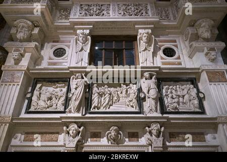 Italy, Lombardy, Milan, Piazza del Duomo, Interior of the Cathedral of the Nativity of the Holy Virgin (Duomo), Right-hand pulpit - Stock Photo
