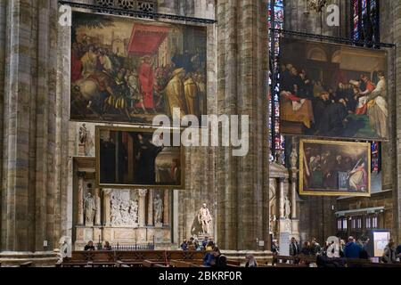 Italy, Lombardy, Milan, Piazza del Duomo, Interior of the Cathedral of the Nativity of the Holy Virgin (Duomo), Paintings of St Charles - Stock Photo