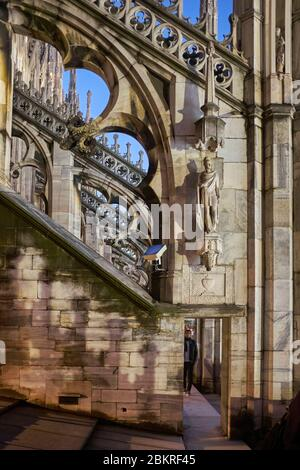 Italy, Lombardy, Milan, Piazza del Duomo, the Cathedral of the Nativity of the Holy Virgin (Duomo) built between the 14th century and the 19th century is the third largest church in the world, spires and statues of the Duomo seen from the terrace on the roof of the cathedral - Stock Photo