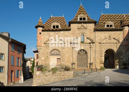 France, Isere, Saint Antoine l'Abbaye, most beautiful village in France, the old town hall entrance of the abbey called Porterie - Stock Photo