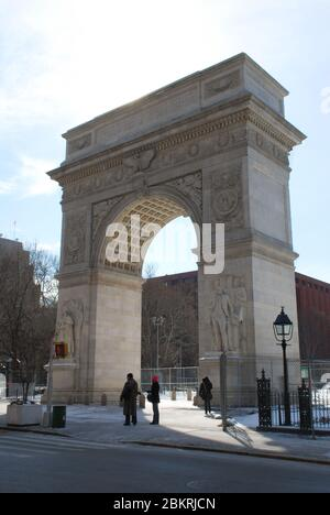 Marble Roman Arch Washington Square Arch, New York, NY 10012, United States by Stanford White - Stock Photo