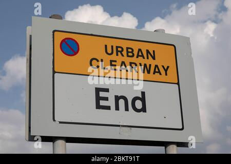 roadside sign indicating end of urban clearway at Birkenhead Wirral August 2019