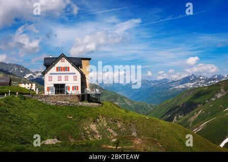 Closed mountain hotel located near the Rhone Glacier in Furka Pass, Switzerland - Stock Photo