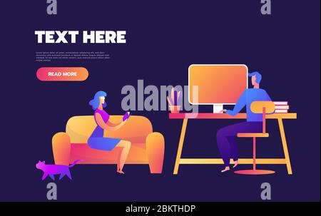 Family is staying at home on quarantine and spending time together. Set of illustrations of home activities for family.Vector flat style illustration