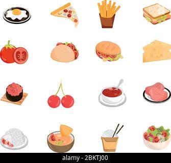 food menu restaurant snack ingredient flat style icons set vector illustration - Stock Photo
