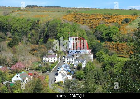 The Great Laxey Wheel (Lady Isabella), Victorian water wheel designed to pump water out of mines in Laxey on the Isle of Man. - Stock Photo