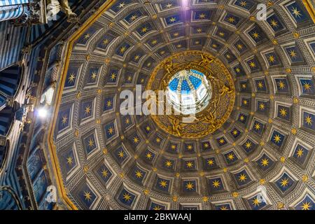 Horizontal picture of the amazing dome of the catholic Siena Cathedral, one of the best spots in Siena, Italy - Stock Photo
