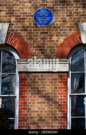 Blue Plaque, Rossetti and Swinburne lived here, London - Stock Photo