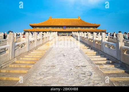 Beijing, China - Jan 9 2020: Dragon and clouds engraved on the main staircase to Taihedian (Hall of Supreme Harmony) in the Forbidden City