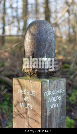 Distance marker on the Yorkshire Wolds Way long distance footpath - Stock Photo