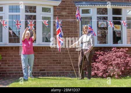 VE Day 75th anniversary celebration preparations, UK - Stock Photo