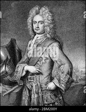 Charles Mordaunt, 3rd Earl of Peterborough, 1658 - October 25 1735, was a British statesman and military  /  Charles Mordaunt, 3. Earl of Peterborough, 1658 - 25. Oktober 1735, war ein britischer Staatsmann und Militär, Historisch, historical, digital improved reproduction of an original from the 19th century / digitale Reproduktion einer Originalvorlage aus dem 19. Jahrhundert, - Stock Photo
