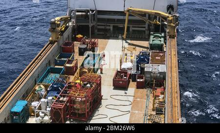 Balikpapan, Indonesia - October 2019: Deck of an offshore supply vessel from above