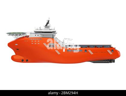 Anchor Handling Tug Supply Vessel Isolated - Stock Photo