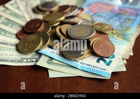 Money - after Covid-19 how will the circulation of coins - Stock Photo